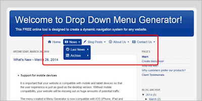 Cara menambahkan Drop Down menu generator ke blog