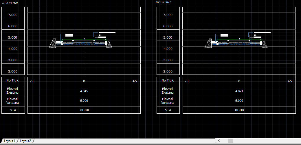 AUTO CAD GAMBAR CROSS SECTION DAN LONG SECTION (DWG FILE)