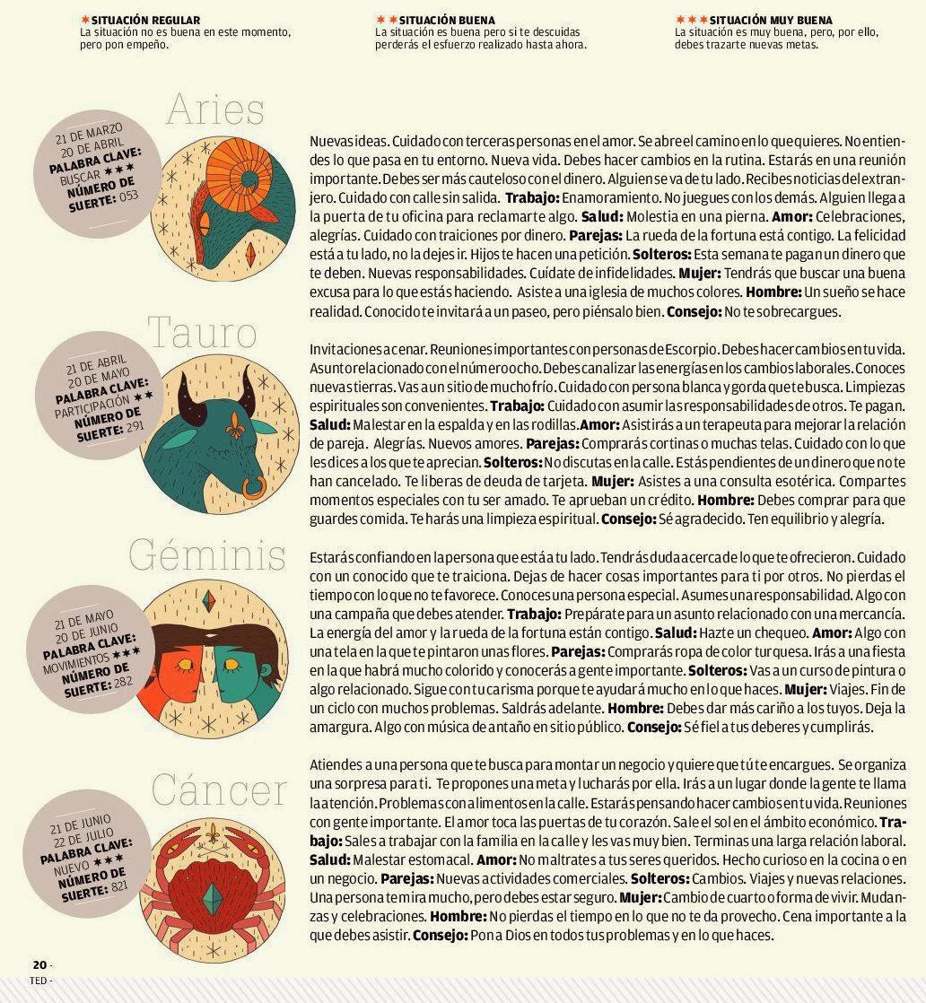 ... , Tauro, Géminis del 16 al 22 de febrero de 2014 Adriana Azzi Sedes