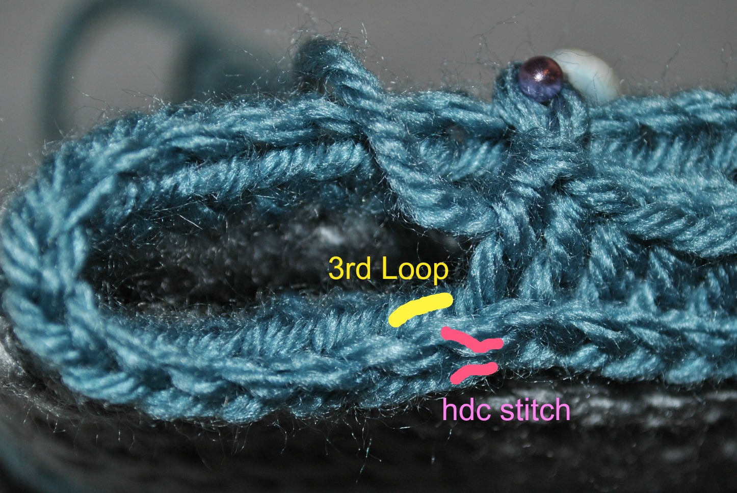 Round 3-27: DO NOT join, hdc in 3rd loop of next stitch. (SEE PHOTO)