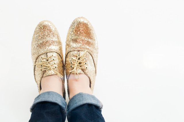 golden ponies glitter shoes