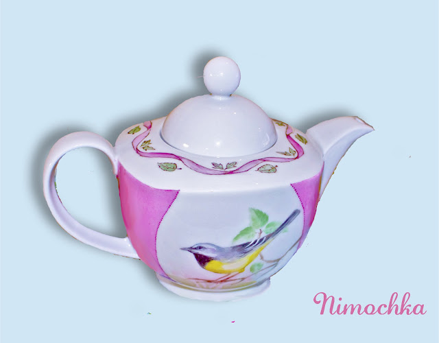 china tea pot, hand painted , porcelain, birds