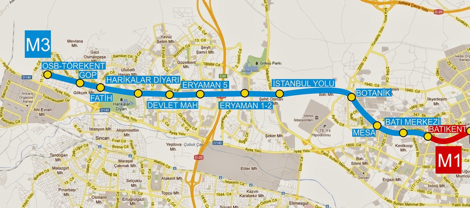 Ankara Metrosu 3 Haritası