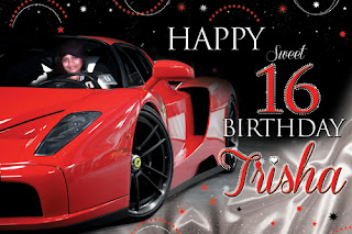 Sweet 16 Ferrari Enzo Themed Birthday Banner