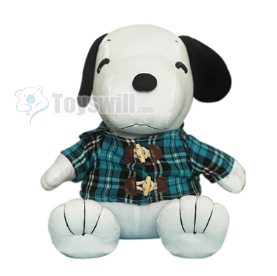 all kinds of toys cute snoopy in blue plaid shirt plush toy 55cm. Black Bedroom Furniture Sets. Home Design Ideas