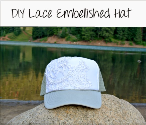 DIY Lace embellished trucker hat, super easy and super cute.
