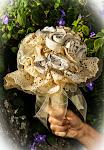 Buque Rústico com Flores de Tecido