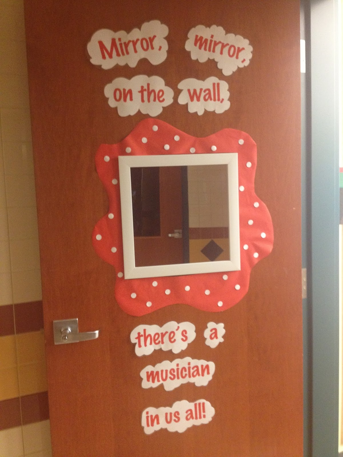 Music Classroom Door Decorations ~ Treble in the classroom mirror on wall