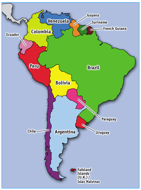 Dafi South America Map Labeled - South america map labeled