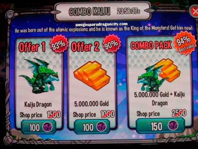 imagen de la oferta del dragon kaiju de dragon city ios y dragon city android
