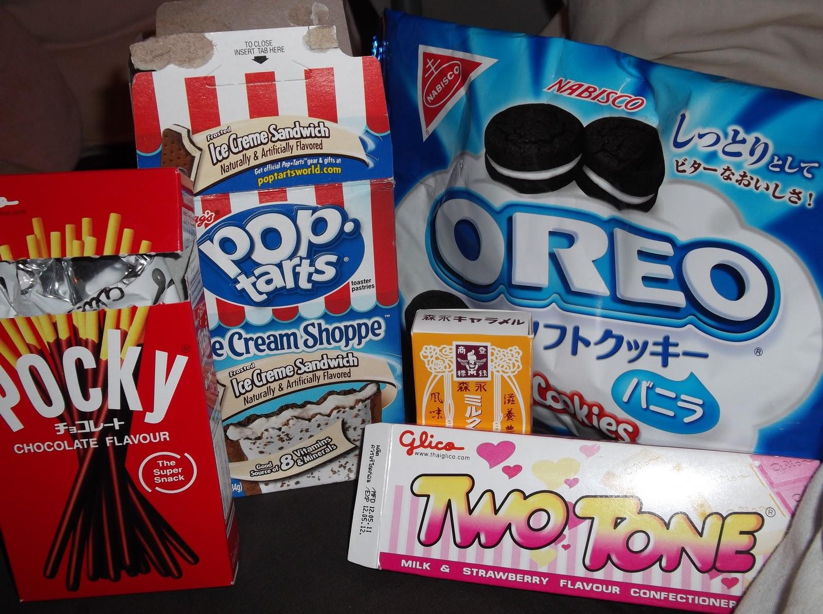 Left to Right: chocolate pocky, ice cream sundae pop tarts, morigana ...