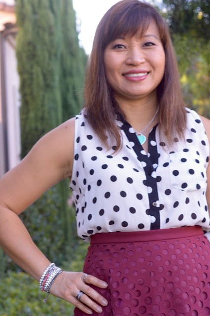 Office Wear, polka dots,  J Crew Perforated A-line skirt