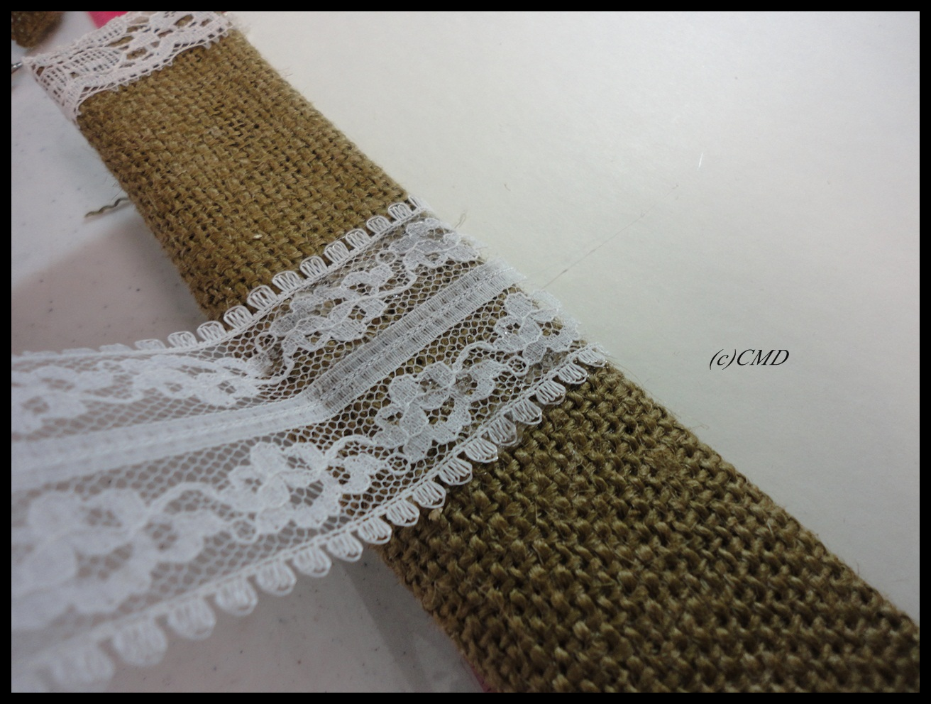 Crochet Lace Book Cover ~ Creating a burlap book cover finished with lace flowers