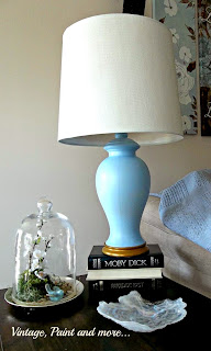 DIY Lamp Shade - spray painting a lamp, using chalk paint on a lamp shade, painting a lamp