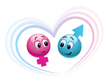 Pink, blue, girl, boy emoticons