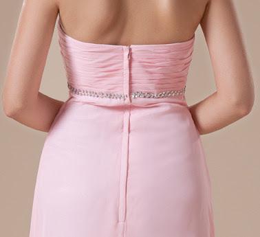 Rose empire bretelles en mousseline de soie taille sweetheart robe de soirée Maxi