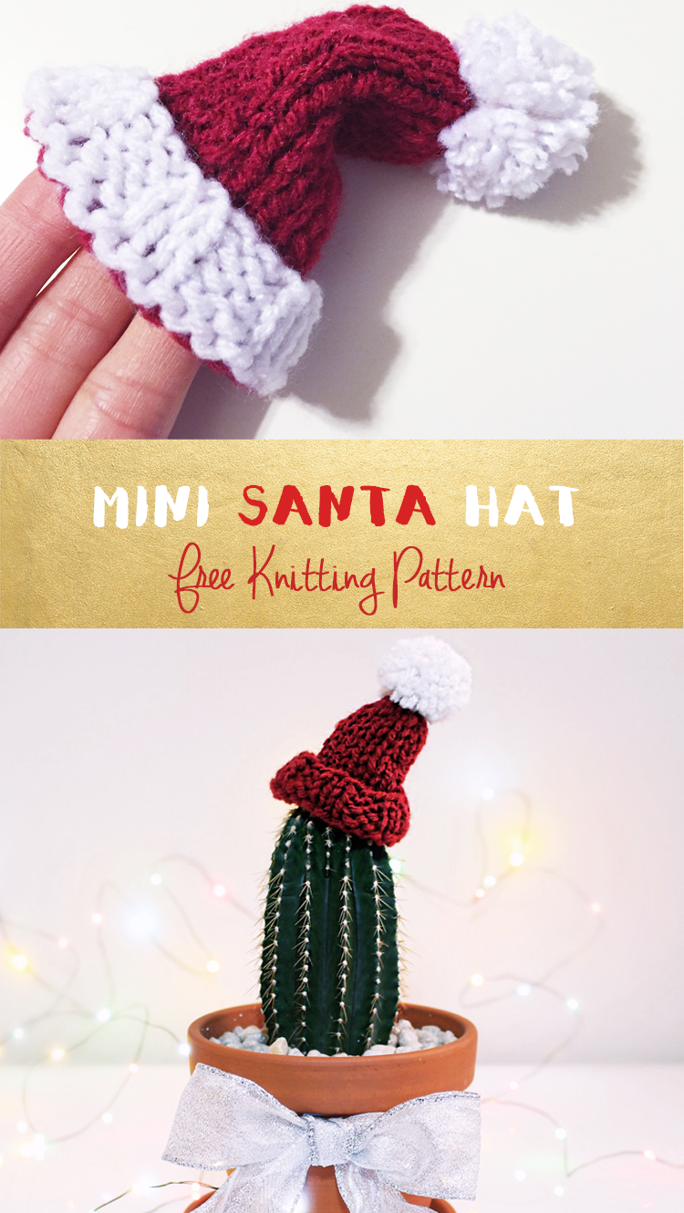 Knitting Pattern For A Christmas Hat : Purllin: Happy Holidays Knit Miniature Santa Hat