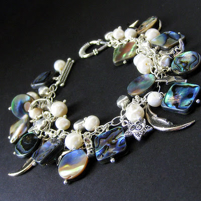 Peacock Abalone and Fresh Water Pearl Charm Bracelet
