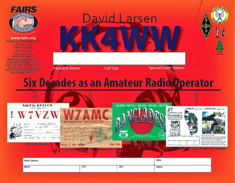 David Larsen QSL KK4WW
