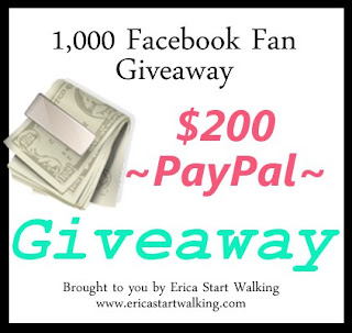 Erica Start Walking 1,000 Facebook Fan Giveaway