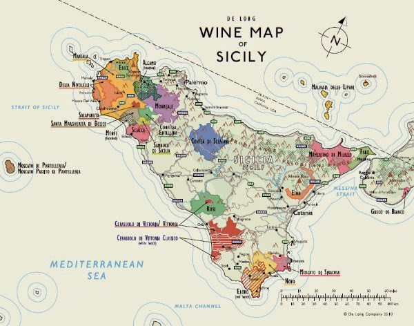 Wine map of Sicily wine region
