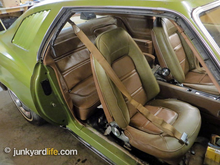 Strato bucket seats recline and offer lumbar adjustment in 1973 Pontiac Grand Am.