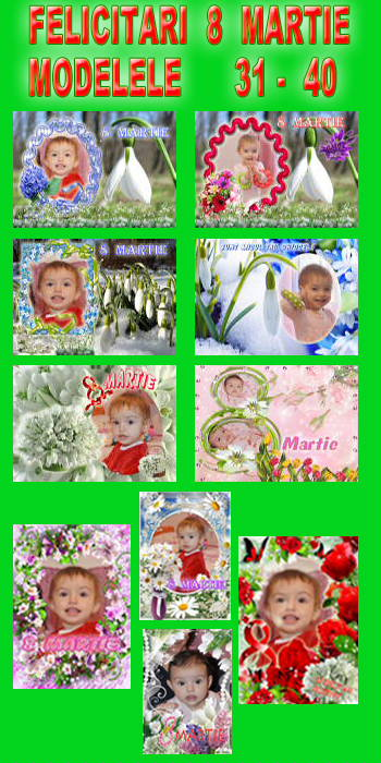 Felicitari  8  Martie  -  Modelele  31 - 40