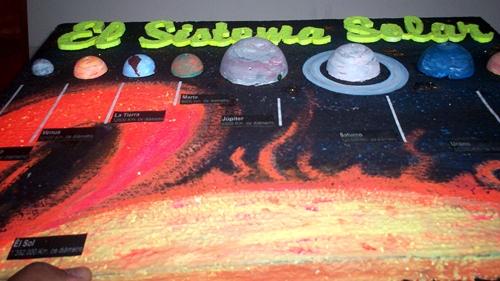 detalle de alto relieve en maqueta del sistema solar maqueta
