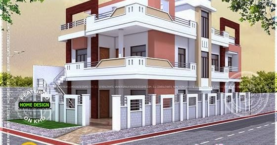 Floor plan of north indian house kerala home design and - Front view of home design in india ...
