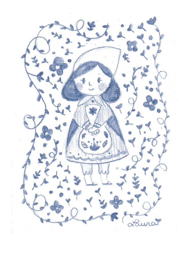 acuarelas, cute, folk, girl, illustration