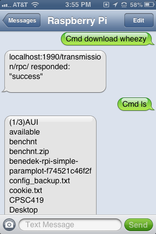 Controlling raspberry pi via text message steves computer vision