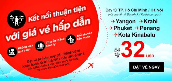 Vé máy bay chỉ 32 USD với khuyến mãi của Air Asia
