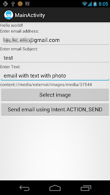 Send email with Image by starting activity using Intent of ACTION_SEND