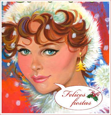 joven retro años setenta Navidad