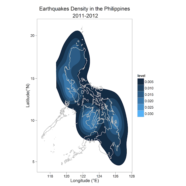 Earthquake Density in the Philippines (2011-2012)