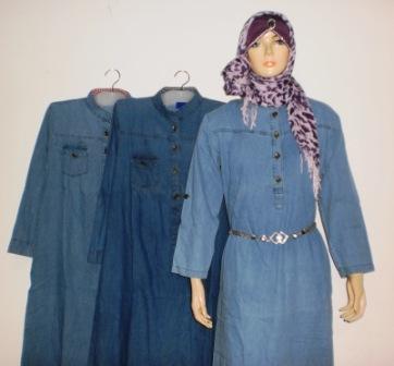 Grosir baju muslim murah online tanah abang gamis bahan Baju couple gamis denim