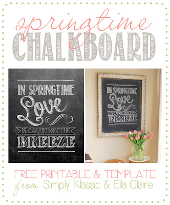 Spring Chalkboard Free Printable & Template - print the chakboard and frame it, or download the free template and draw your own!  www.simplyklassichome.com