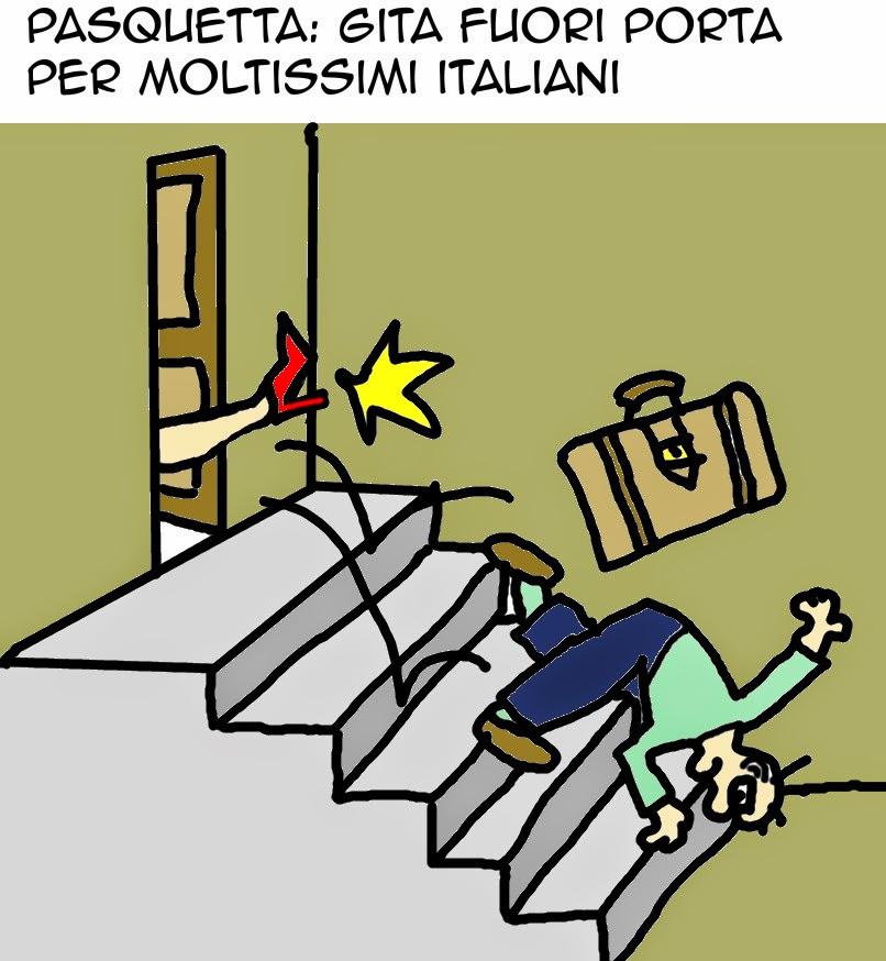 Pasquetta, gita, umorismo vignetta