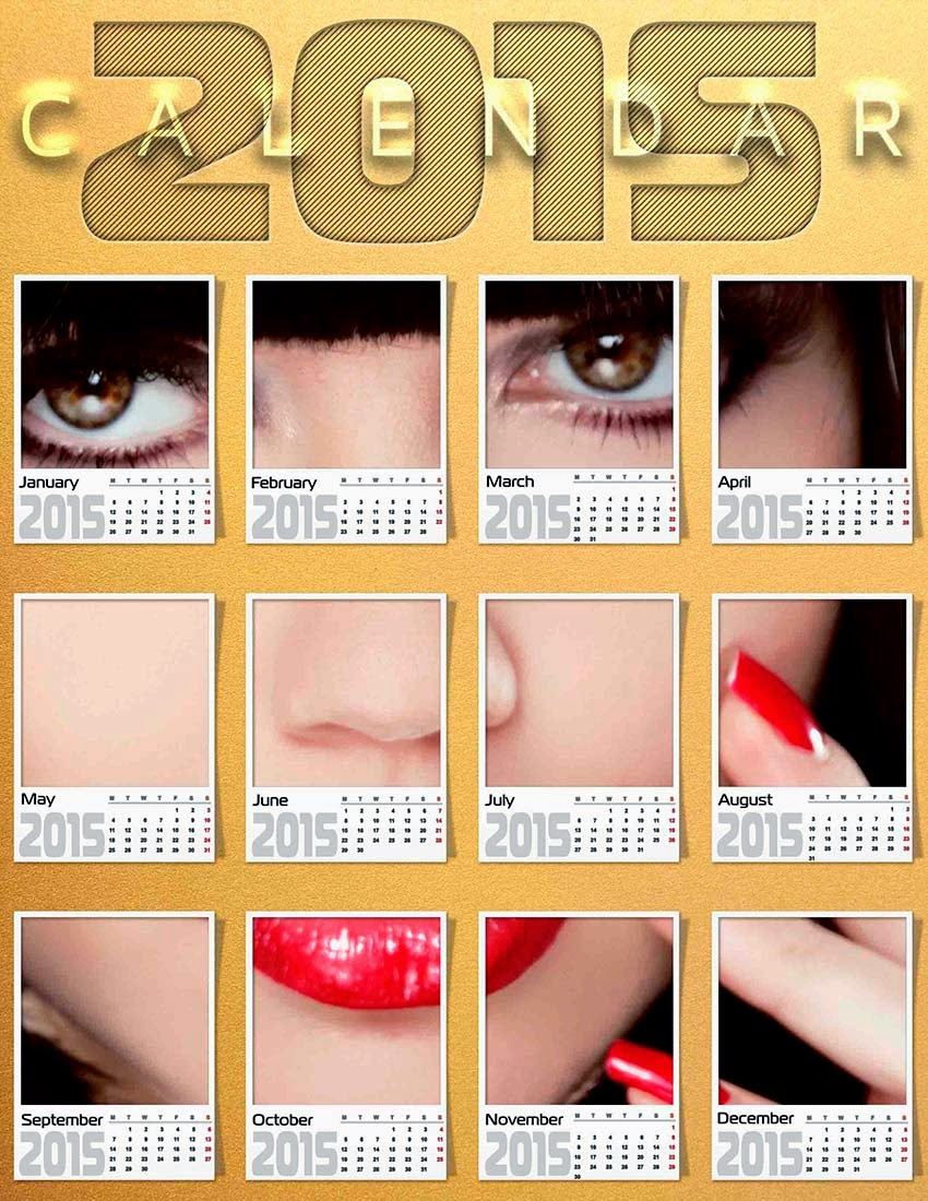 Calendario 2015 con rostro de una bella modelo