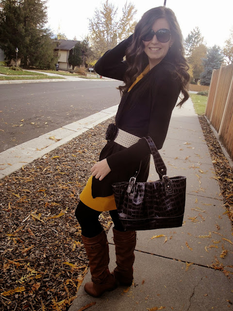 fall colors, fall outfit, boots, leggings, leggings and boots, yellow tunic, yellow sweater, black cardigan, brown boots, long hair, cute,