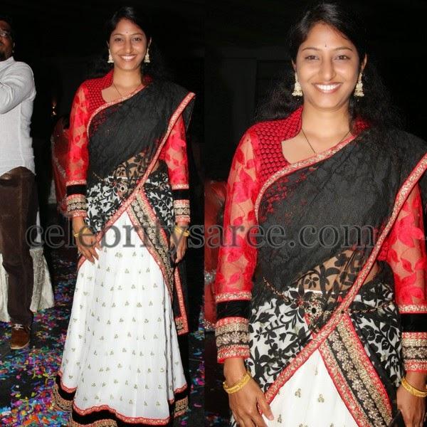 Thread Work White Half Saree