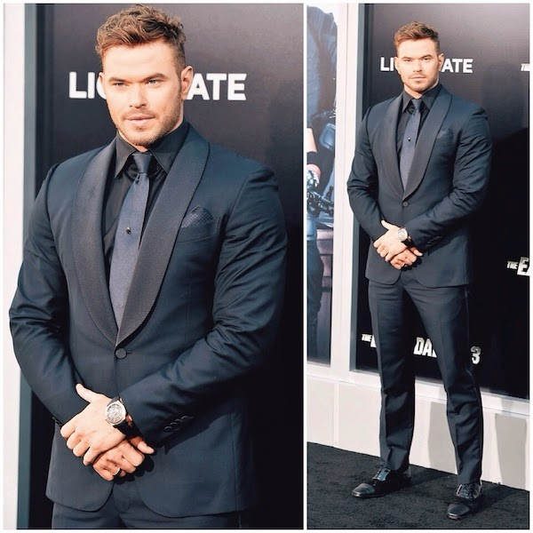 KELLAN LUTZ WEARS ERMENEGILDO ZEGNA SUIT AND DAVID YURMAN WATCH AT THE EXPENDABLES 3 LOS ANGELES PREMIERE