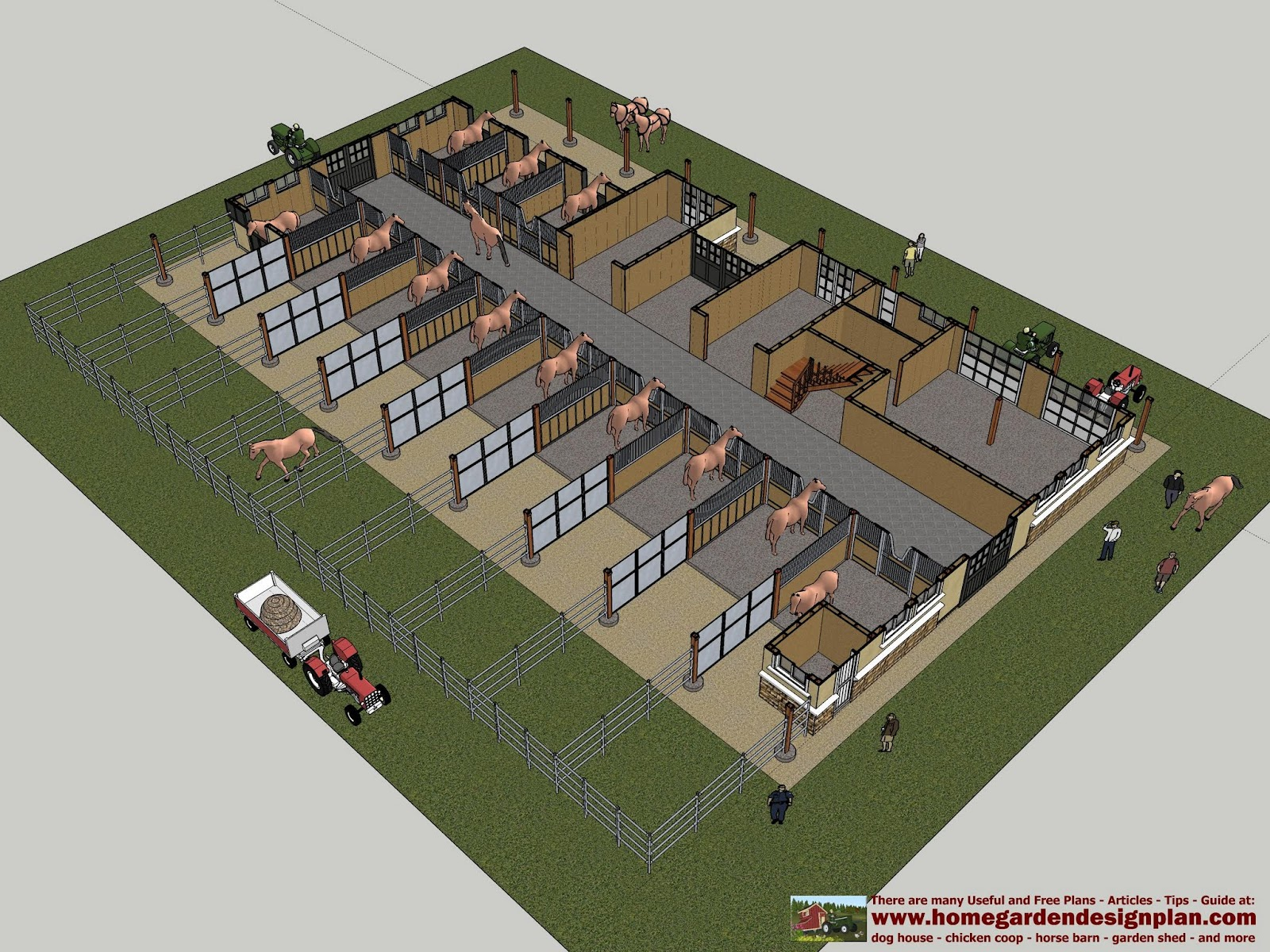 Home garden plans hb100 horse barn plans horse barn for Horse farm house plans