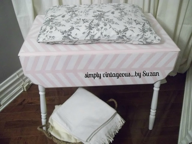 Painted, changing table, chevron pattern, herringbone, how to