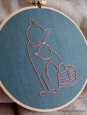 kitten hand embroidery pattern