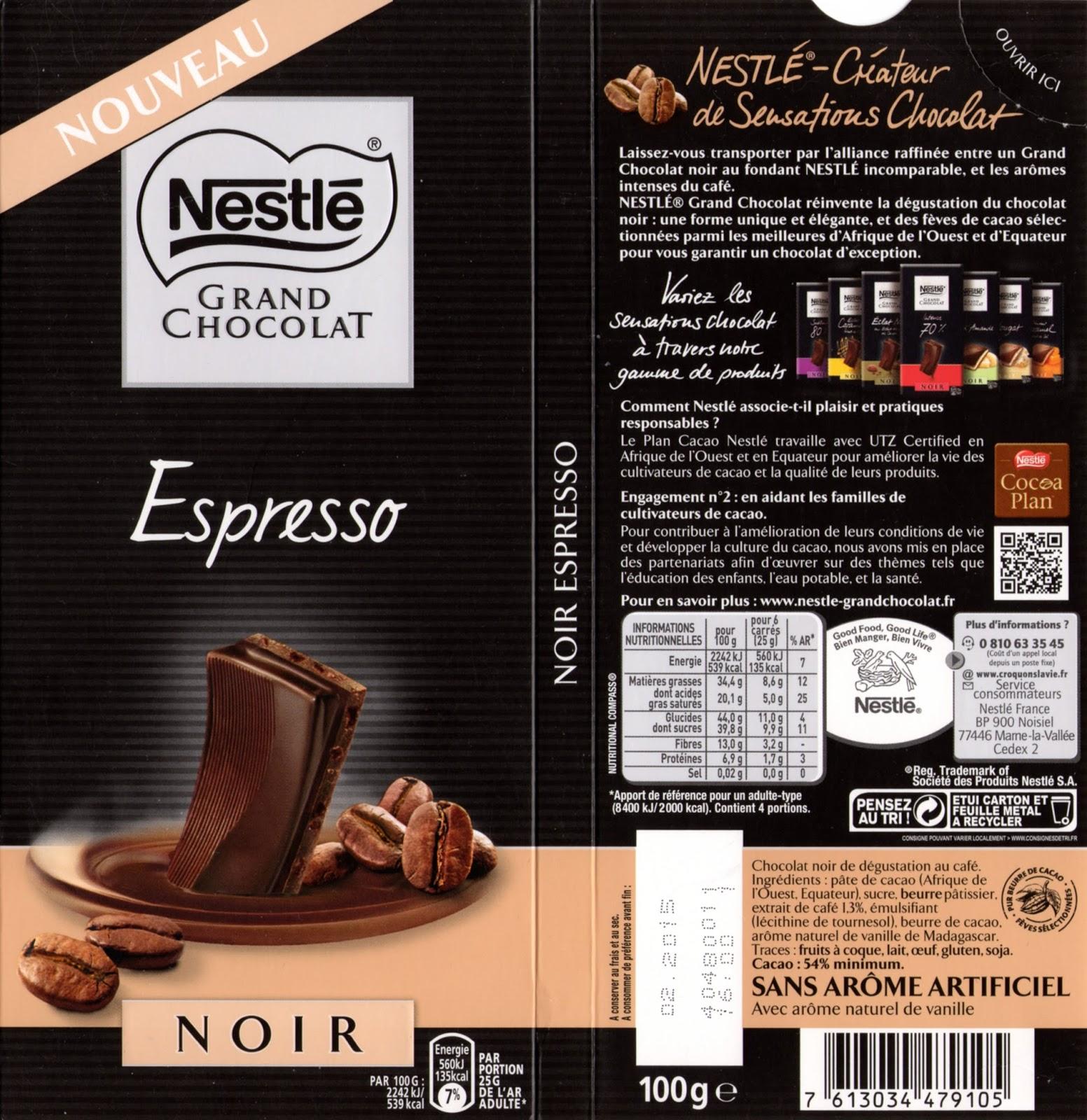 tablette de chocolat noir gourmand nestlé grand chocolat espresso