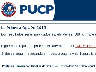 Resultados examen admision Primera Opción PUCP 2012