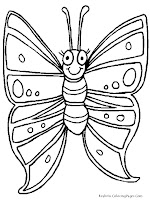 Smiling Butterfly Kids Coloring Pages Printable