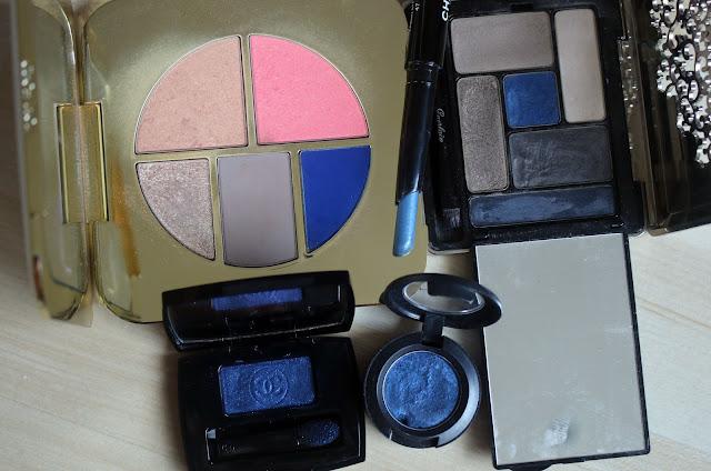 синие тени для век, макияж и свотчи