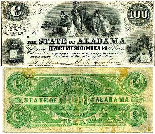 Конфедеративные 100 долларов, штат Алабама, 1864 год